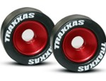 Red Wheelie Bar Wheels and Rubber Tires (TRA5186)